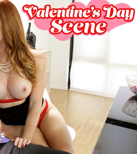Dani Jensen and her stepson Alex D are each getting ready for a fun time on Valentine's Day. When Alex's date cancels, though, Alex goes in search of his stepmom to talk it through. He finds Dani in a sheer bra and thong, caressing her enhanced big boobs and her landing strip pussy. That sight gives Alex the idea that he'll treat his mom to the romantic dinner he had planned for his date.Eventually, Alex coaxes Dani into taking down her top and putting her boobs on display out of pity. Soon Alex has his hands on her tits, which entices Dani to let Alex put those strong hands on her fuck hole, too. Loving what her stepson can do, Dani hikes up her miniskirt and leans over the table so he can fuck her from behind.Knowing his redhead stepmom is putty in his hands, Alex enjoys a lusty blowjob before pulling her into his lap. Dani is quick to go for a stiffie ride as her big titties bounce and she stares into her stepson's eyes. When she hops onto the table and spreads her thighs so he can bring her off while squeezing those giant hooters, Alex is happy to play stud. In return, he enjoys every moment as Dani sucks and strokes until he gives her a mouthful of hot cum to swallow.