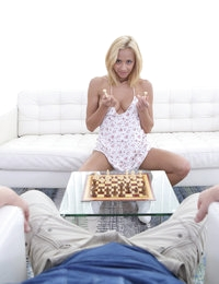 Hot blonde with big breasts, dark nipples, awesome ass and dollface loves to play different games. However, today she chooses something more interesting than chess. Sexy blondie shows masterful skills in blowing the hardon of her chess partner. The dick penetrates her mouth and then quickly tries other sex-eager holes of this hottie. The bae is fucked in different poses passionately. The busty hottie spreads cum all over her humped pussy and flat stomach. Awesome fuck for the hottest blondie!