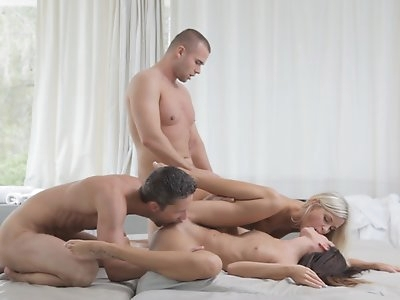 Dido Angel and Gina Devine eagerly dive into each others bald pussies before their men join them for a hot group fuck