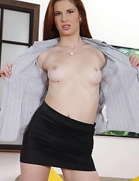 Lavanda is a pretty redheaded chick who has never enough of sex. She has never enough of dicks, and today she wants to be used by three guys at a time. Enjoy watching this dirty bitch fucked into all her holes by three well hung lads. They nail her in all possible positions and in the end she will get his sticky cum over her slutty face.